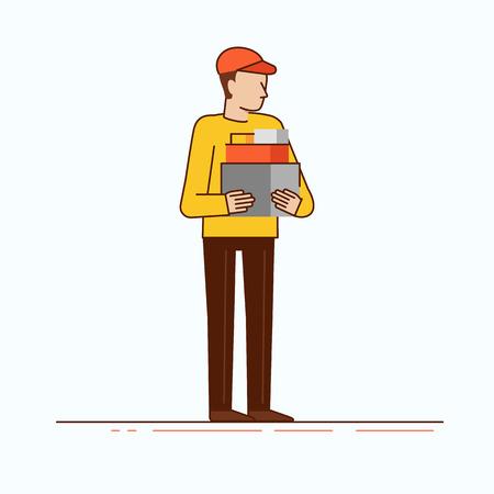 Ilustración del vector en estilo moderno lineal plana - mensajería hombre con las cajas - concepto de negocio de entrega