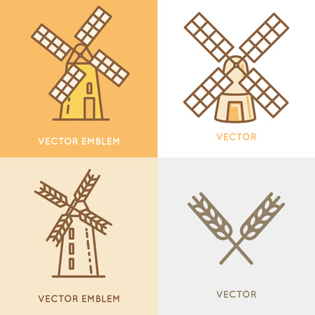 wind mill: Vector illustration and logo design template in modern flat linear style - wind mill - bakery emblem - agriculture landscape