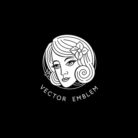 Vector design templates and abstract concept in linear style - retro tattoo concept or emblem in black and white - woman face and portrait - beauty symbol for cosmetics