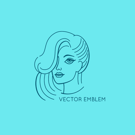 beauty woman face: Vector  design template and abstract concept in linear style - woman face and portrait - beauty symbol for cosmetics Illustration