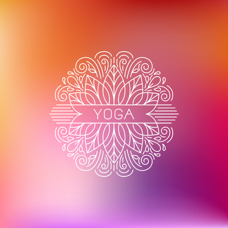centers: Vector  design template and emblem made with leaves and flowers -  beauty and spa - badge for yoga classes, holistic centers, natural cosmetics - meditation and health concept Illustration