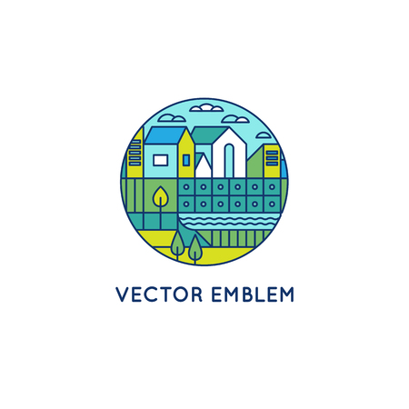 lake district: Vector illustration with city landscape in trendy linear style - abstract modern town concept with park and garden in blue and green colors Illustration