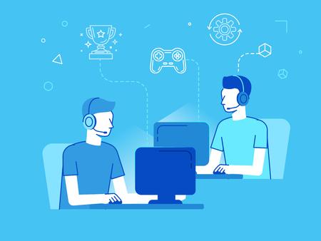 Ilustración del vector en estilo moderno lineal plana - cybersport torneo concepto - hombres jugando al juego de juego en línea frente a las pantallas de ordenador - jugadores de futbol su juego de vídeo