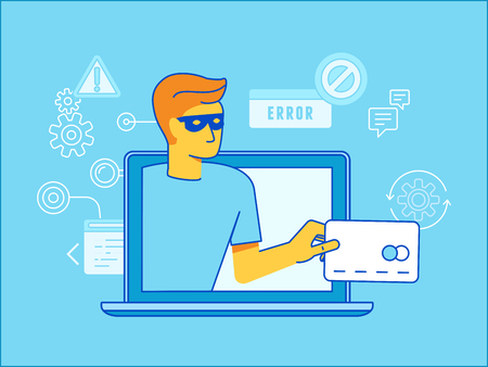 stealing: Vector illustration in modern flat linear style - hacker stealing credit card data - email viruses, bank account hacking and fraud concept  Illustration
