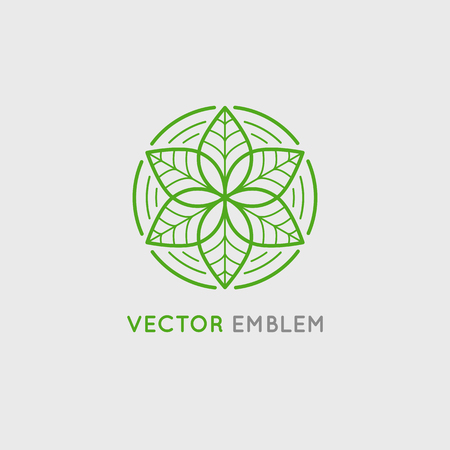 Vector   design template and emblem made with leaves and flowers - luxury beauty spa concept - badge for yoga studios, holistic medicine centers, natural and organic food products and packaging