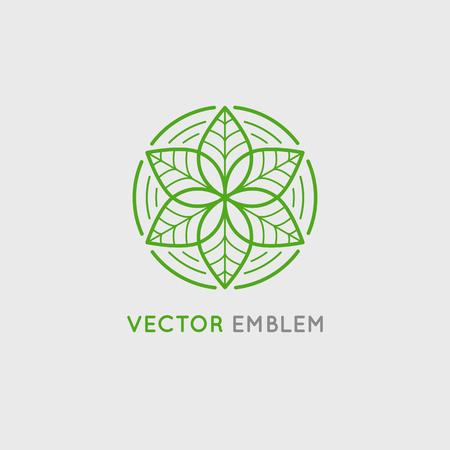 Disegno vettoriale modello e emblema fatta con foglie e fiori - di lusso concetto di bellezza spa - badge per studi di yoga, centri di medicina olistica, prodotti alimentari naturali e biologici e imballaggi Archivio Fotografico - 64877748