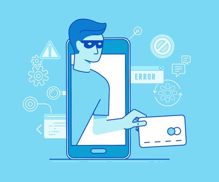 Ilustración del vector en estilo lineal plana moderna - hackers robar datos de tarjetas de crédito en el proceso de pago móvil - virus de correo electrónico, la cuenta bancaria la piratería y el concepto de fraude Ilustración de vector