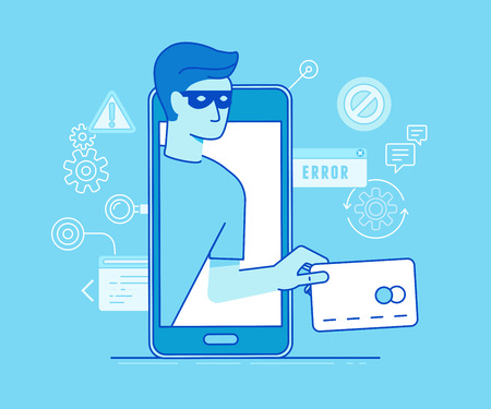 passwords: Vector illustration in modern flat linear style - hacker stealing credit card data in the process of mobile payment - email viruses, bank account hacking and fraud concept