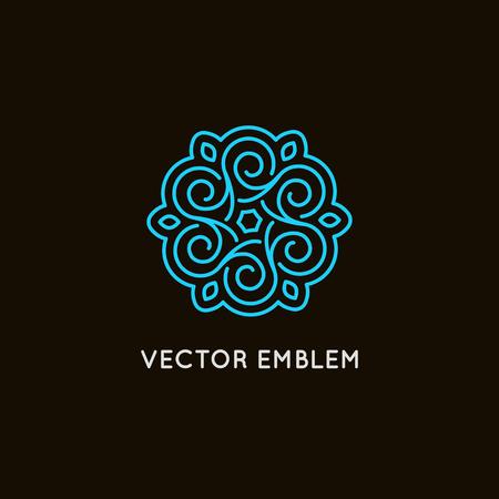 Vector sjabloon en embleem gemaakt met bladeren en bloemen - badge voor yoga studio's, holistische geneeskunde centra, natuurlijke cosmetica, handgemaakte sieraden en biologische voedingsproducten - handgemaakte cosmetica concept
