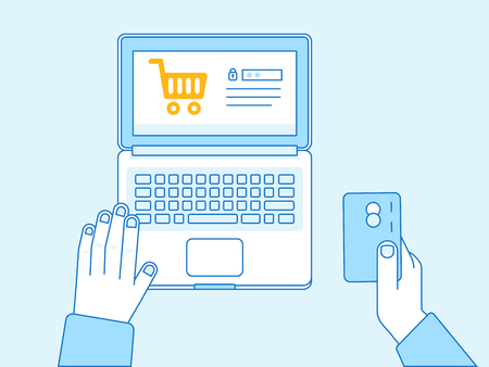credit cart: Vector flat linear illustration in blue colors - online payment concept - hand holding credit card and shopping cart on the screen of laptop