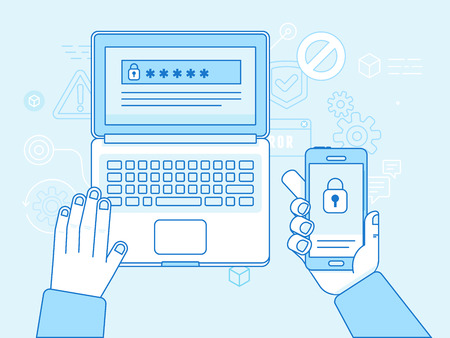Vector flat linear illustration in blue colors and trendy flat linear style - multi factor authentication and online access control concept - laptop and mobile phone with password and authorization code to secure user data