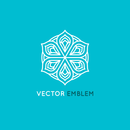 centers: Vector   design template and emblem made with leaves and flowers - luxury beauty spa concept - badge for yoga studios, holistic medicine centers, natural and organic food products and packaging
