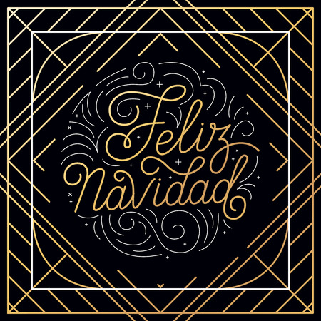 christmas backgrounds: Vector greeting card with hand-lettering in linear style - feliz navidad Illustration