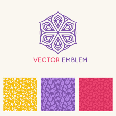 centers: Vector set of  design templates, seamless patterns and backgrounds for identity, business cards and packaging - yoga studios, holistic medicine centers, natural cosmetics, handcrafted jewelry and organic food products