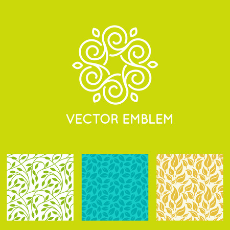 Vector set of design templates, seamless patterns and backgrounds for identity, business cards and packaging - yoga studios, holistic medicine centers, natural cosmetics, handcrafted jewelry and organic food products