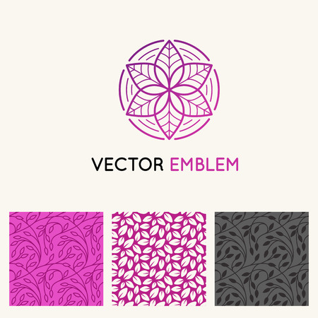 centers: Vector set of  design templates, seamless patterns and backgrounds for identity, business cards and packaging - floral shops, beauty, spa  and yoga studios, and holistic medicine centers