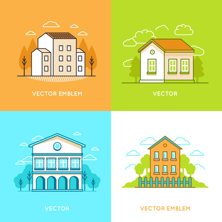 rural development: Vector graphic design - real estate concepts in trendy linear style - houses and buildings