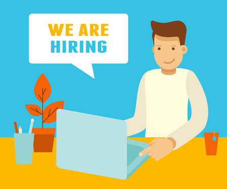 Vector illustration and banner in flat modern style and bright colors - vacancy for startup - freelance or outsource work concept - man working at laptop and speech bubble with text - we are hiring