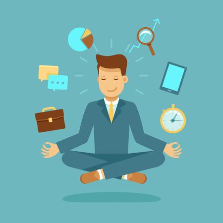 ベクトル モダンなフラット スタイル - 瞑想のビジネスマンのイラスト - 時間管理、ストレス リリーフおよび問題解決の概念 - 男ポーズでロータス