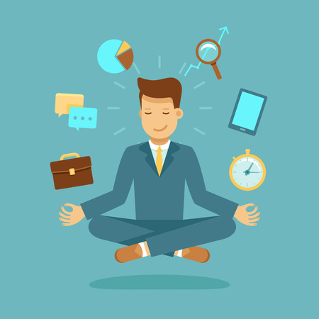 analyze: Vector illustration in modern flat style - businessman meditating - time management, stress relief and problem solving concepts - man thinking about business in lotus pose
