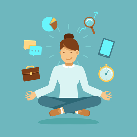 stress woman: Vector illustration in modern flat style - business woman meditating - time management, stress relief and problem solving concepts - man thinking about business in lotus pose