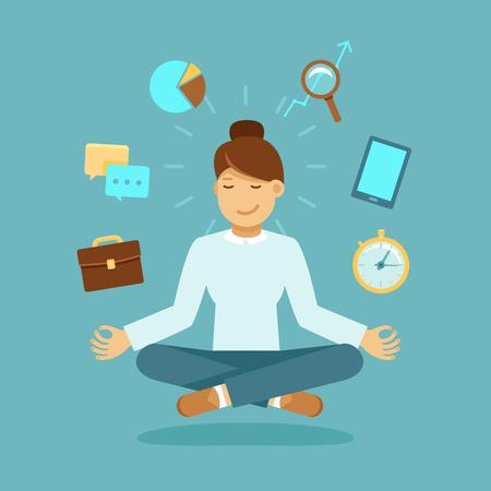 Vektor-Illustration in der modernen Wohnung Stil - Geschäftsfrau meditierend - Zeitmanagement, Stressabbau und Problemlösungskonzepte - ein Mann denken über das Geschäft in der Lotoshaltung Vektorgrafik