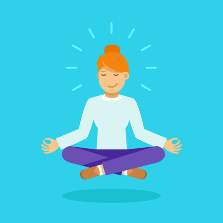 Vector illustration in modern flat style - business woman meditating - time management, stress relief and problem solving concepts Illustration