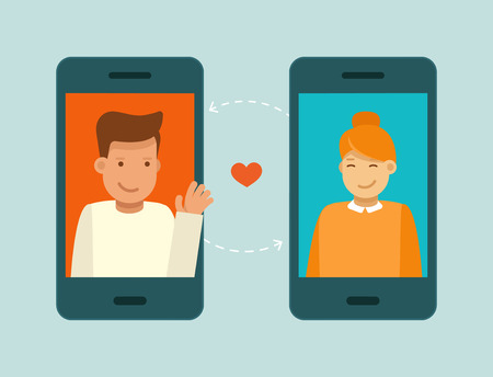 internet dating: Vector illustration in trendy flat style - online dating app concept - mobile phone with application on the screen - man and woman searching for love and relationship