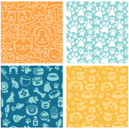 shop for animals: Vector set of seamless patterns and backgrounds with  icons related to pets and animals - abstract backgrounds for pet shop websites and prints