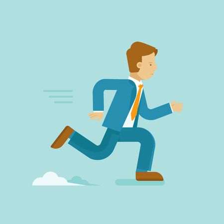 Vector illustration in flat style and blue colors - business competition concept - running and smiling man in suit