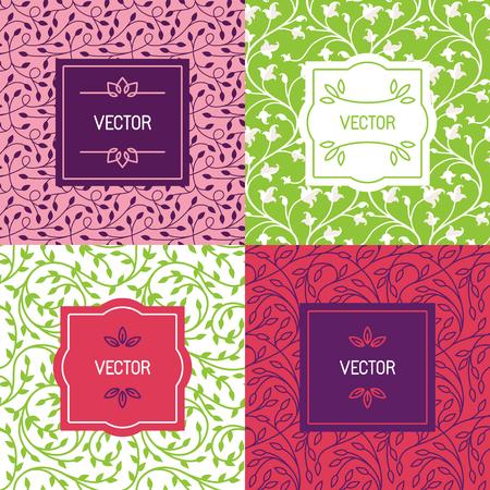 productos de belleza: Vector conjunto de plantillas de diseño de envases, patrones de costura y marcos con copia espacio para el texto de cosméticos, productos de belleza, comida orgánica y saludable con hojas verdes y flores - adornos de estilo moderno y fondos