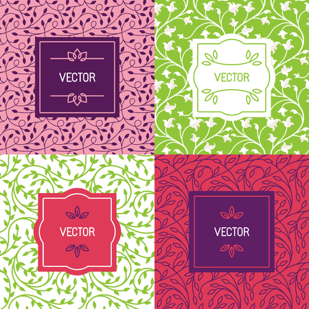 beauty products: Vector set of packaging design templates, seamless patterns and frames with copy space for text for cosmetics, beauty products, organic and healthy food with green leaves and flowers - modern style ornaments and backgrounds