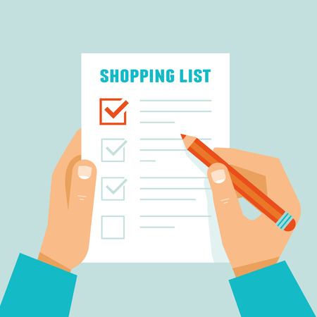 notebook: Vector illustration in flat modern style  - hands holding paper sheet with shopping list
