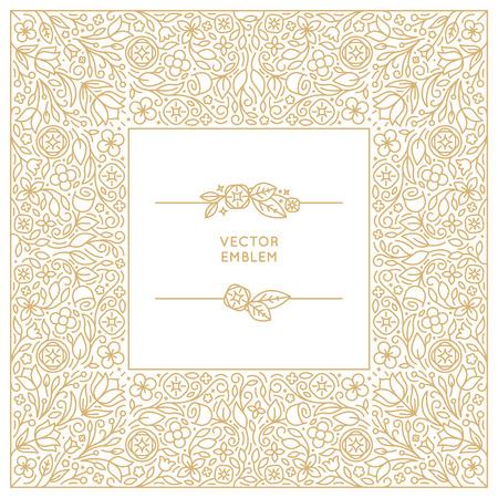 Vector bloemen monogram en achtergrondontwerpmalplaatje in trendy lineaire stijl - bloemist en huwelijk concepten met een kopie ruimte voor tekst - uitnodiging en wenskaart afdruksjabloon