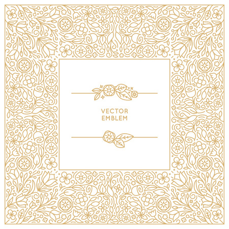 wedding background: Vector floral monogram and background design template in trendy linear style - florist and wedding concepts with copy space for text - invitation and greeting card print template Illustration
