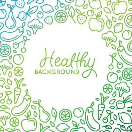del diseño del fondo del vector en estilo lineal de moda con copia espacio para el texto y los iconos de frutas y verduras - Tienda sana, vegetariana y concepto de producto alimenticio natural