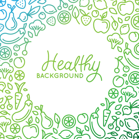 Vector background  design template in trendy linear style with copy space for text and fruit and vegetable icons - healthy store, vegan and natural food product concept Vectores