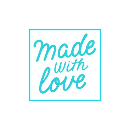 skill: Vector label and badge with hand-lettering type - made with love stamp for homemade products and shops Illustration