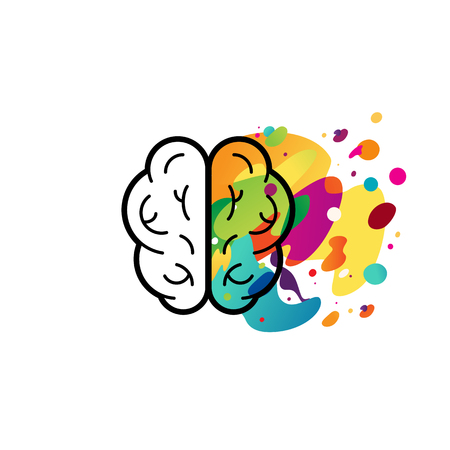 hemispheres: Vector illustration in flat linear style - left and right brain hemispheres - analytical and creative thinking