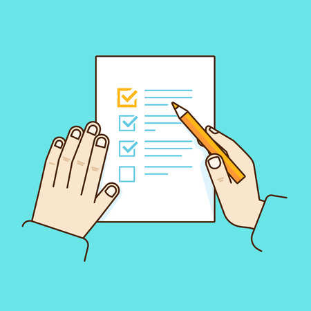 Vector flat linear illustration in blue colors - time management concept - get things done - task list on the paper and hand with pencil Illustration
