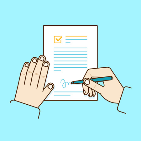 Vector flat linear illustration in blue colors - job contract concept - hand holding pen and signing document