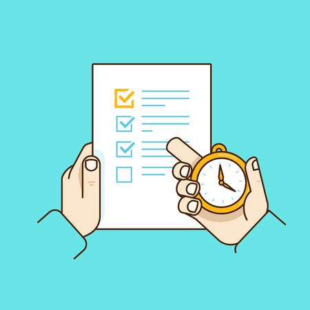 todo list: Vector flat linear illustration in blue colors - time management concept - get things done - task list on the paper Illustration