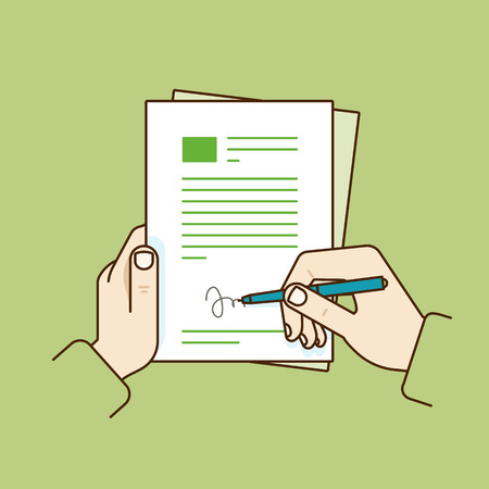 hand job: Vector flat linear illustration - job contract concept - hand holding pen and signing document