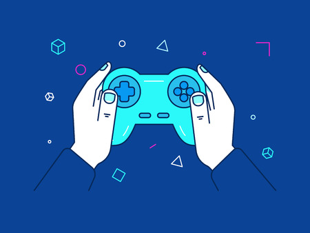 controlling: Vector illustration in trendy linear style and blue colors - cybersport and gaming online concept - hands holding console gamepad and screen with victory banner - winning competition