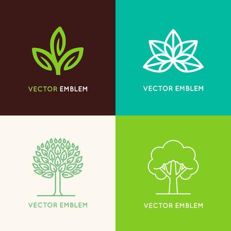 logo medicina: Vector conjunto de plantillas de diseño de logo y emblemas hechos con hojas y flores - insignia para estudios de yoga, centros de medicina holística, cosmética natural, joyería hecha a mano y productos alimenticios orgánicos