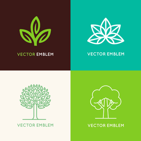 cosmetics products: Vector set of logo design templates and emblems made with leaves and flower - badge for yoga studios, holistic medicine centers, natural cosmetics, handcrafted jewelry and organic food products