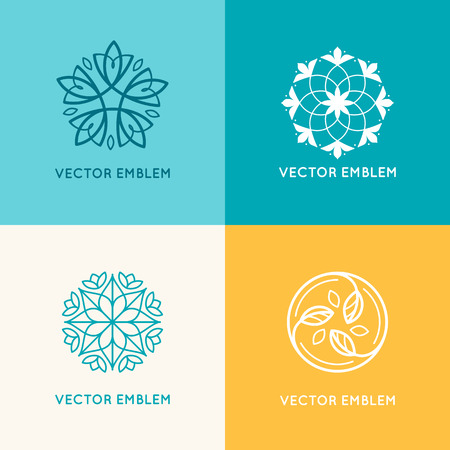 centers: Vector set of  design templates and emblems made with leaves and flowers - badge for yoga studios, holistic medicine centers, natural cosmetics, handcrafted jewelry and organic food products
