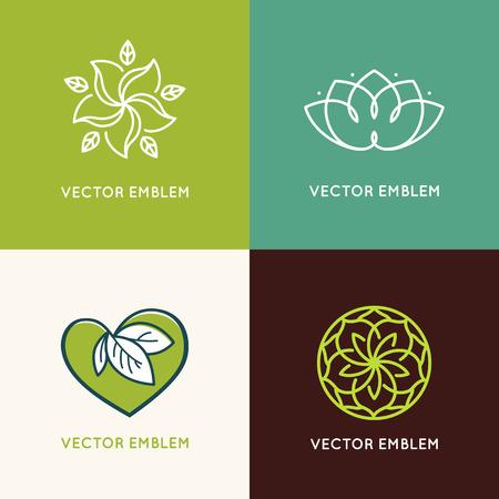Vector set van design templates en emblemen gemaakt met bladeren en bloemen - badge voor yoga studio's, holistische geneeskunde centra, natuurlijke cosmetica, handgemaakte sieraden en biologische voedingsproducten