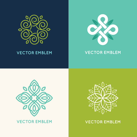 centers: Vector set of  design templates and emblems made with leaves and flower - badge for yoga studios, holistic medicine centers, natural cosmetics, handcrafted jewelry and organic food products Illustration