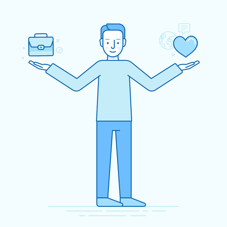 choosing: Vector flat linear illustration - work and life balance concept - man choosing between business and personal